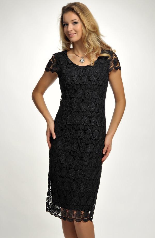 0f0e9d8e5d44 Malé černé krajkové koktejlové šaty pro plnoštíhlé