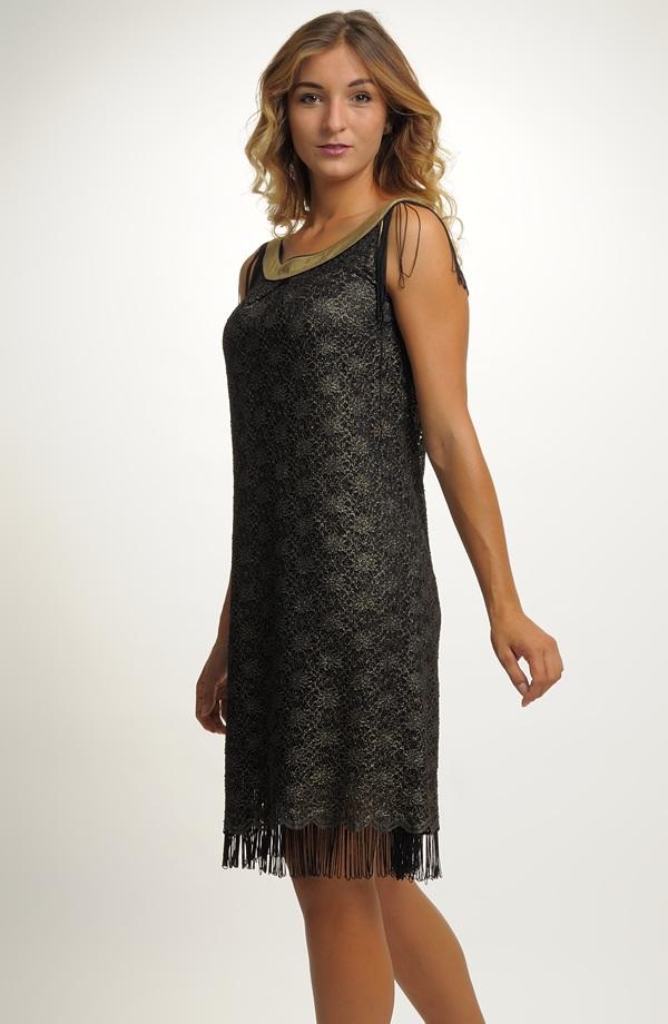 Dámské krátké plesové šaty z černo zlaté krajky ve stylu 60.let Vel. 38 ... f5732a503e
