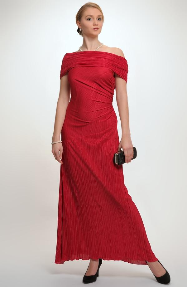 Dlouhé elastické dámské společenské šaty na jedno rameno z luxusní plisé  pleteniny. 070f301df2