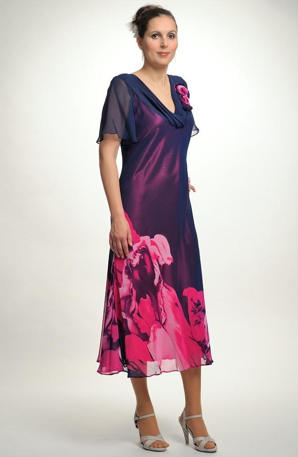 b9ade6a517d ... Luxusní dámské společenské šaty ze šifónu a s květy
