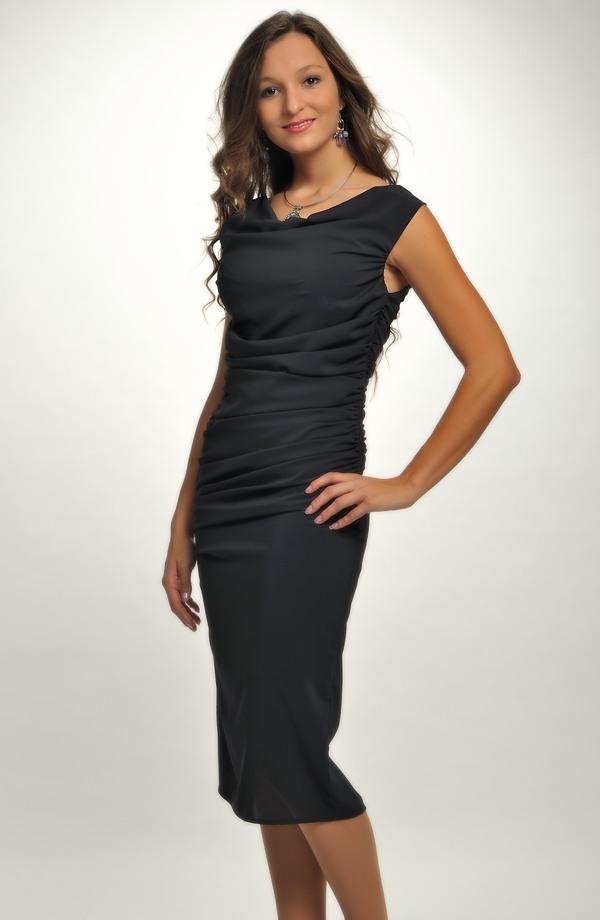 3a8fc0031eb7 Elegantní dámské malé černé koktejlové šaty na ples z elastické tkaniny
