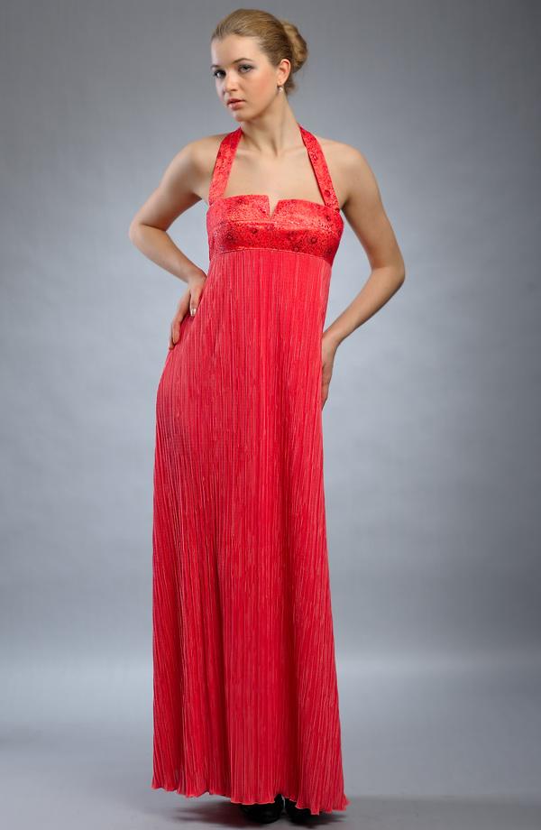 Dlouhé empírové večerní společenské šaty s ramínky za krk 70658c664da