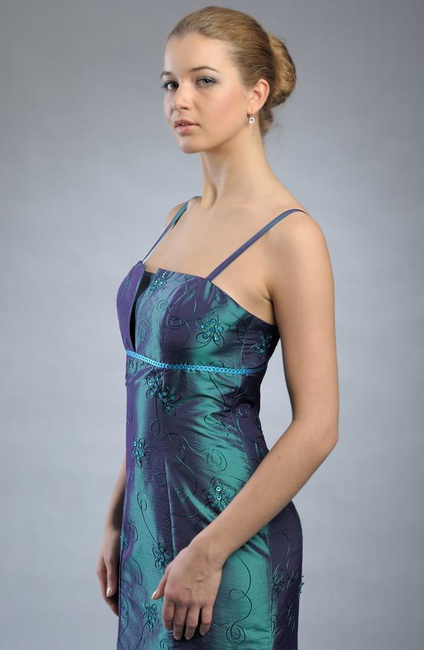 d49204db4ad Dlouhé plesové šaty s jemnou výšivkou s korálky.