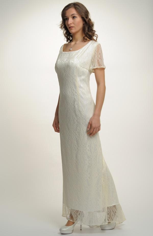 7627a8a2fa5 Velmi elegantní dámské dlouhé svatební šaty s krajkou pro plnoštíhlé ...
