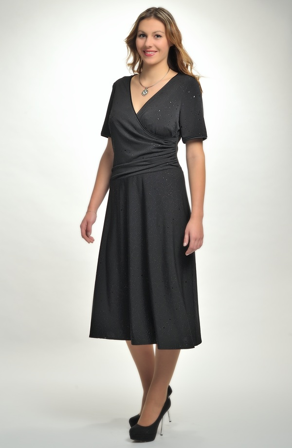 Společenské černé zavinovací šaty pro plnoštíhlé. Vel. 63b5deb90de