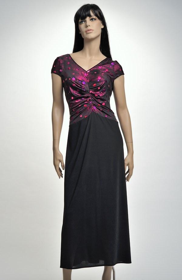 Černé večerní šaty zdobené lila živůtkem ... 7ae3da8cd8