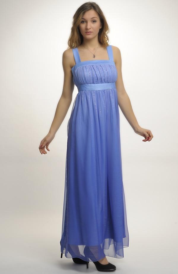 fe2b54bd569 42 Luxusní modré společenské šaty s ramínky v jemné pomněnkové barvě