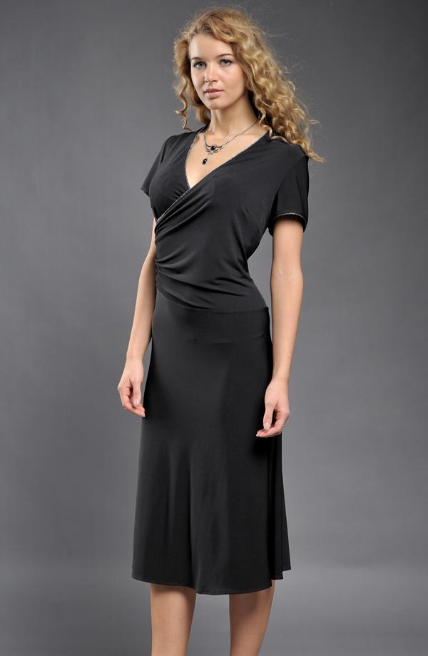 Společenské černé polodlouhé zavinovací šaty v lady délce vel. 22d83918bb9