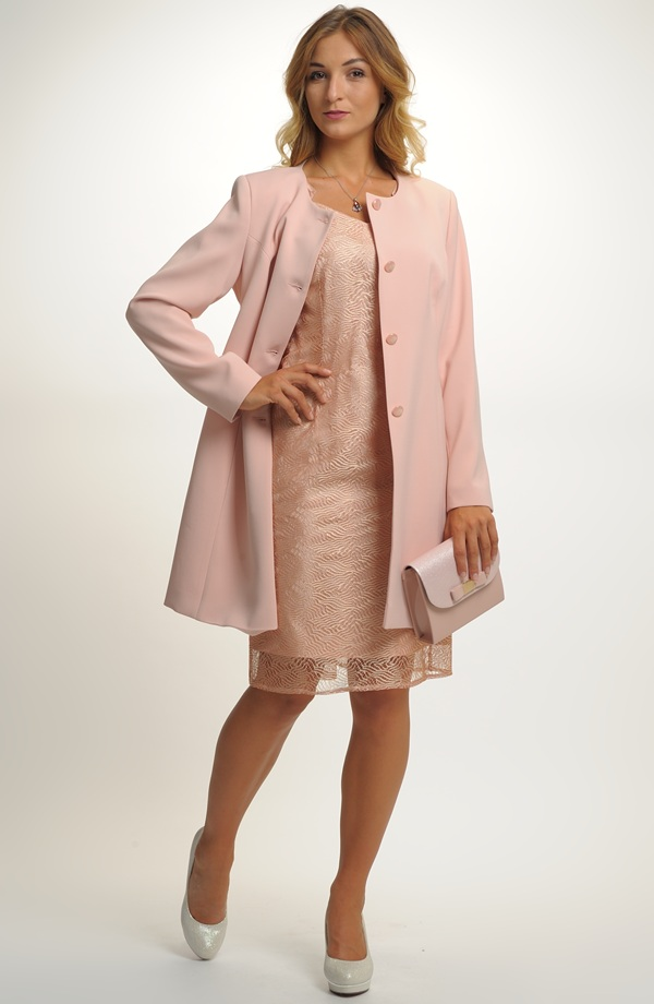 f62abc359fb7 Dámský komplet - pouzdrové šaty s delším kabátkem ...